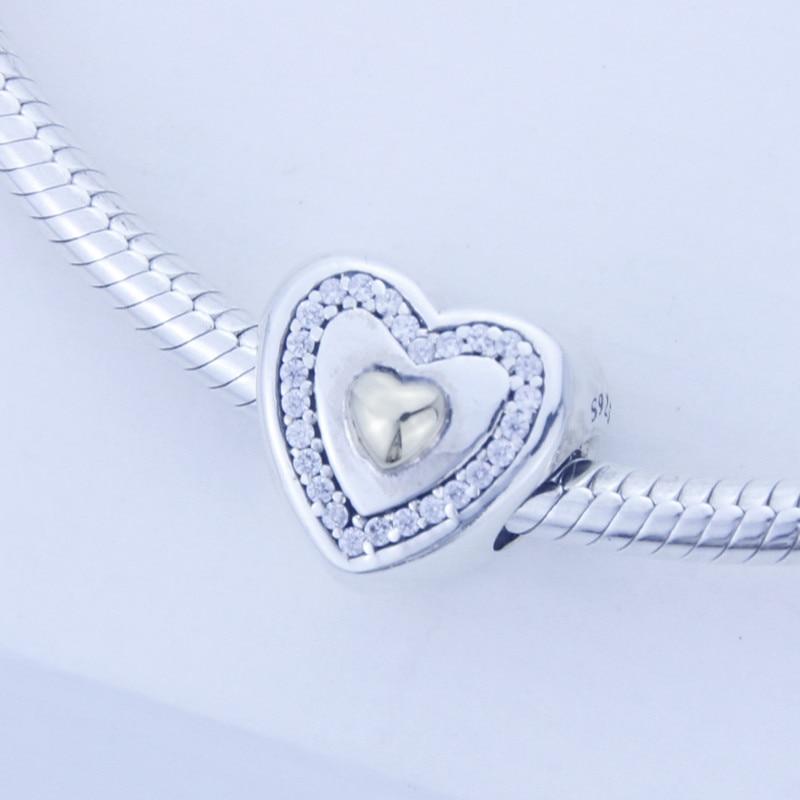 Convient Pandora Bracelet Authentique 925 en argent sterling perles DIY Coeur Argent Charme avec Coeur d'or et Clair Cz en gros