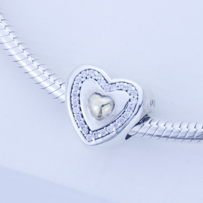 Fits Pandora Bracelet Authentic 925 sterling silver beads DIY Heart Silver Charm with gold Heart and Clear Cz wholesale