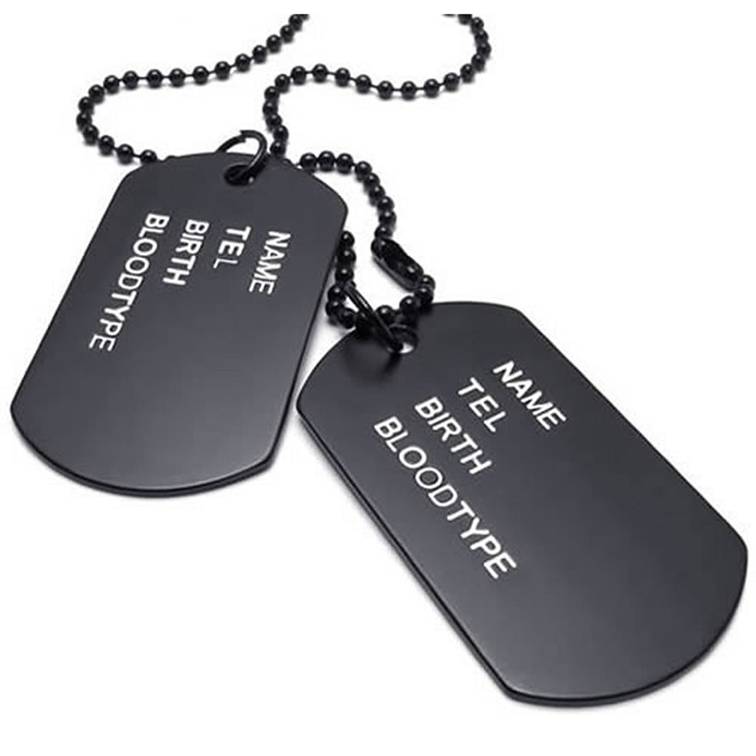 Men Chain 68cm Platelets Army Dog Tag Style Army League Black font b Jewelry b font