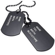 Men Chain 68cm Platelets Army Dog Tag Style Army League Black Jewelry Pendant Necklace (with Gift Bag)