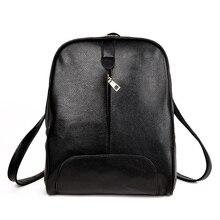 PASTE Brand Women Bag Backpack Genuine Leather Student Zipper Solid Black Bags Preppy Sac Casual Backpacks