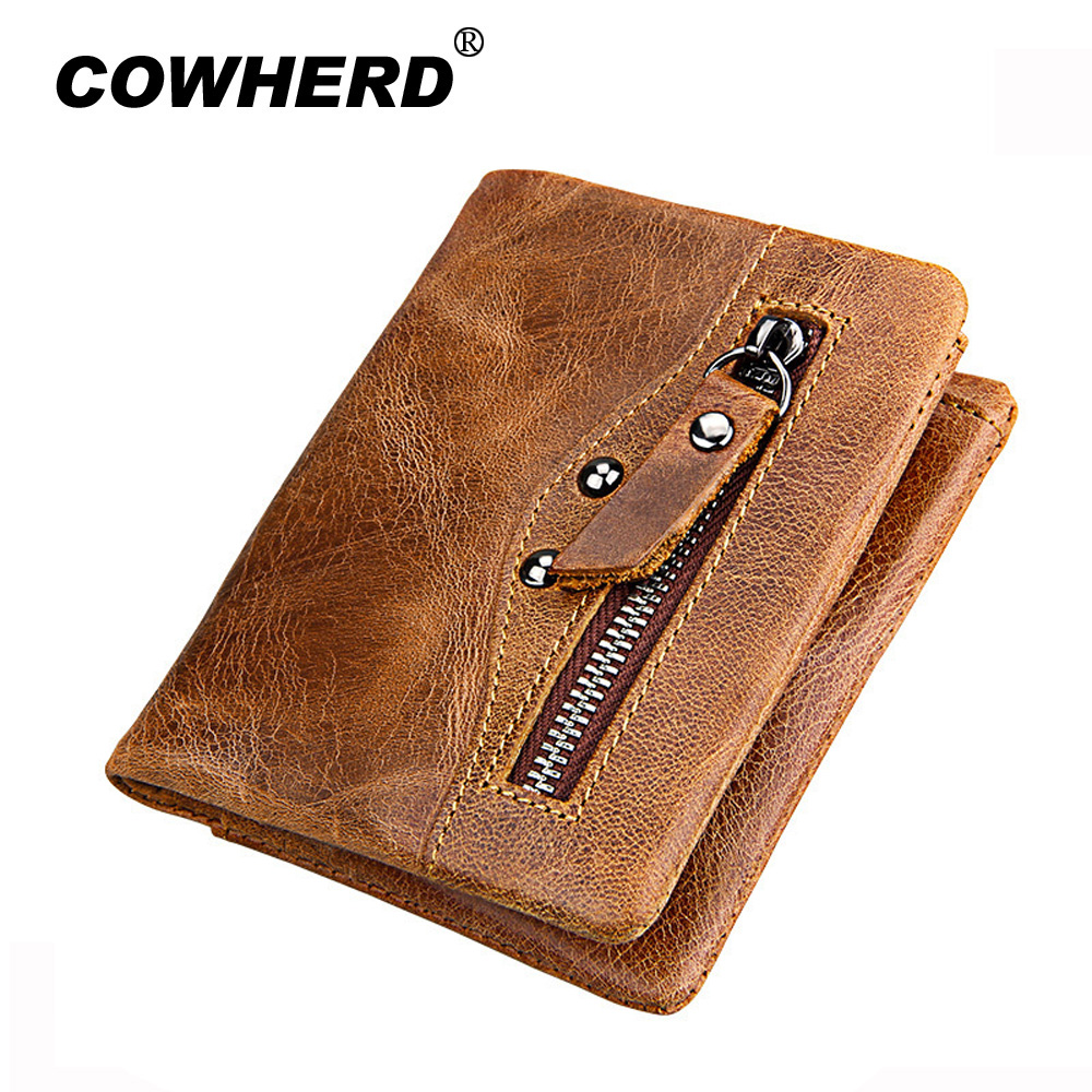 COWHERD Genuine Leather Retro Men Wallets High Quality Famous Brand Hasp Design Male Walet Card Holder for Men's Purse Carteira hot sale leather men s wallets famous brand casual short purses male small wallets cash card holder high quality money bags 2017