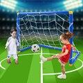Venta caliente dos de tamaño portátil plegable niños Kid meta del fútbol del balompié puerta puerta con bomba de interior exterior juguete deportes