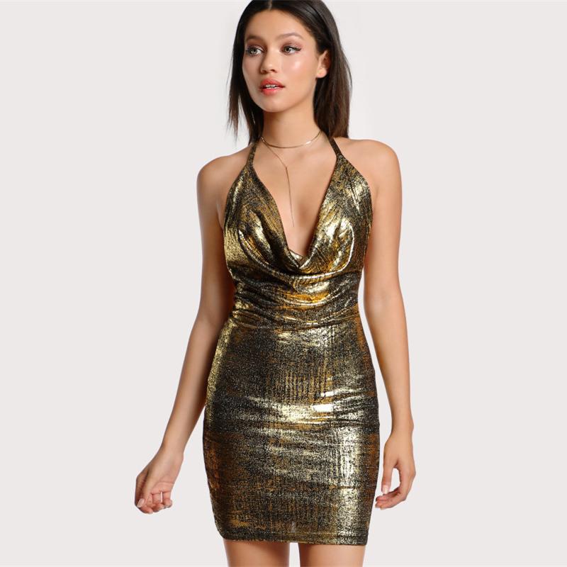 Backless Gold Drape Neck Halter Tie Metallic Bodycon Dress