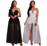 Top quality high design 2017 bandage dress sexy strapless club dress women maxi dresses long BJ1042