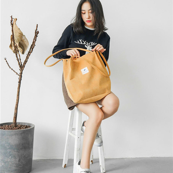 Tote Canvas Backpack Large Shopping Bags For Corduroy XR128