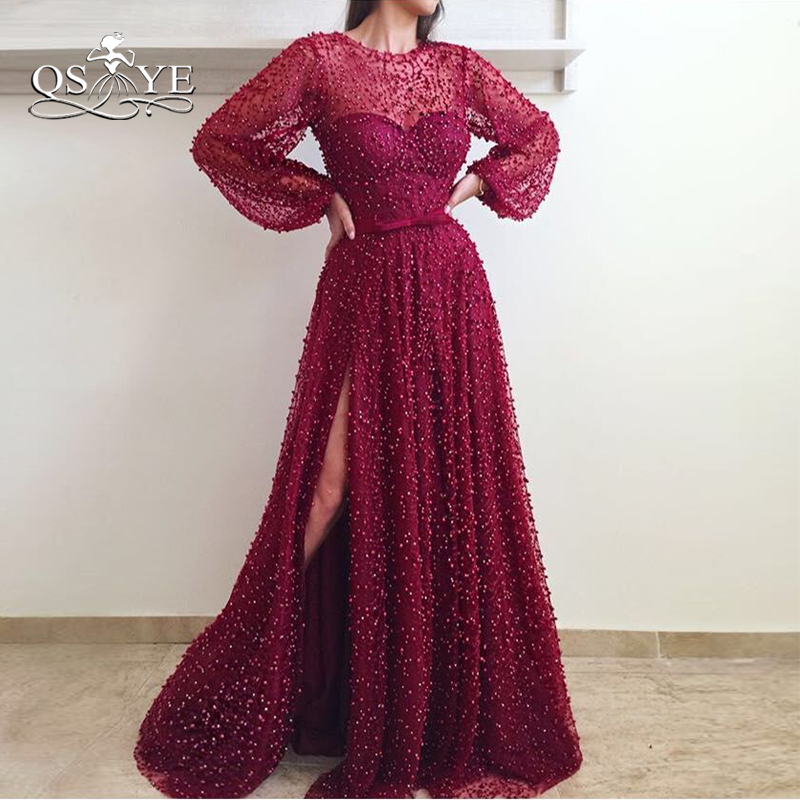 QSYYE 2018 New Wine Red Long Prom Dresses Full Pearls Long Sleeve High Slit Sexy Evening Dress Party Gown Custom Made
