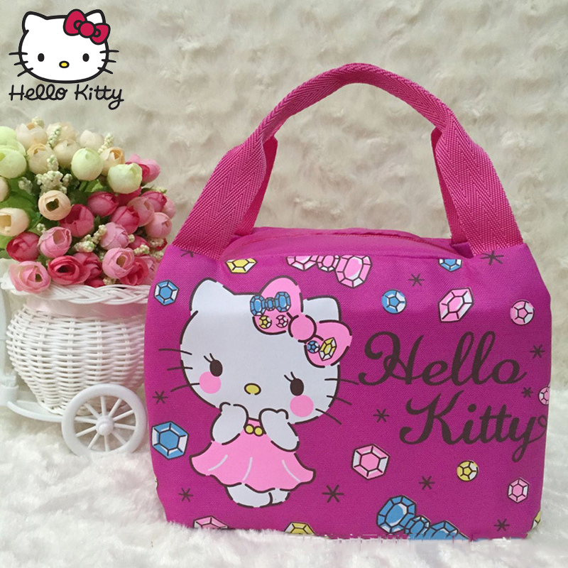 Hello Kitty Cute Lunch Box Bag Women 39 s Kid 39 s Portable Handbag Travel Leisure Storage Lots Pouch Fresh Insulation Plush Backpack in Plush Backpacks from Toys amp Hobbies
