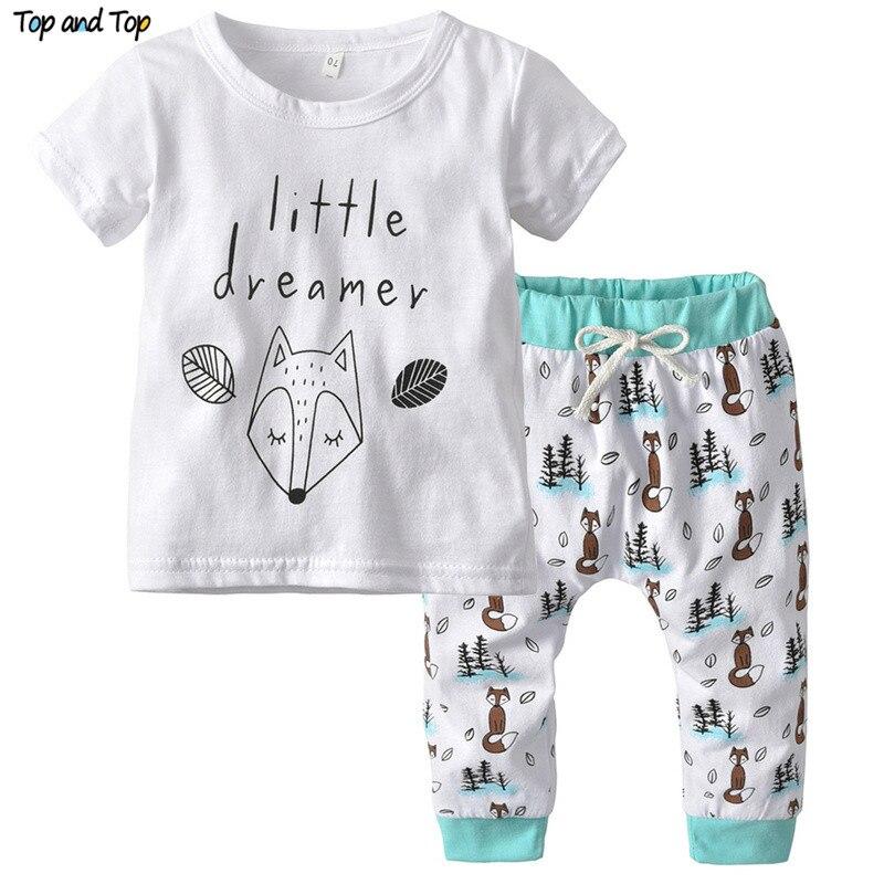 T-Shirt Baby-Boy-Girl Outfits-Set Short-Sleeve Newborn Cartoon Top Fox And Summer O-Neck