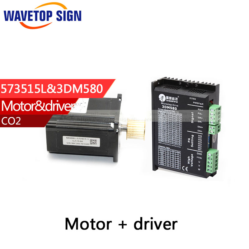 Leadshine 3 Phase Stepper Motor 573S15-L+ Stepper Driver 3DM580 for CO2 Laser Engraving Cutting Machine leadshine stepper motor driver 3dm 683 3 phase digital stepper drive max 60vac 8 3a