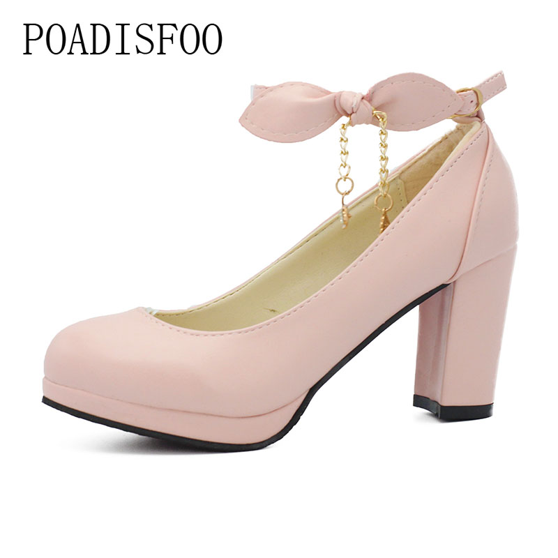 POADISFOO 2017 Shoes Women Spring and Autumn new princess  high-heeled shoes shallow mouth with the  round bow ladies .DFGD-991 the new type of diamond mother sandals lady leather fish mouth flowers with leather high heeled shoes slippers women shoes