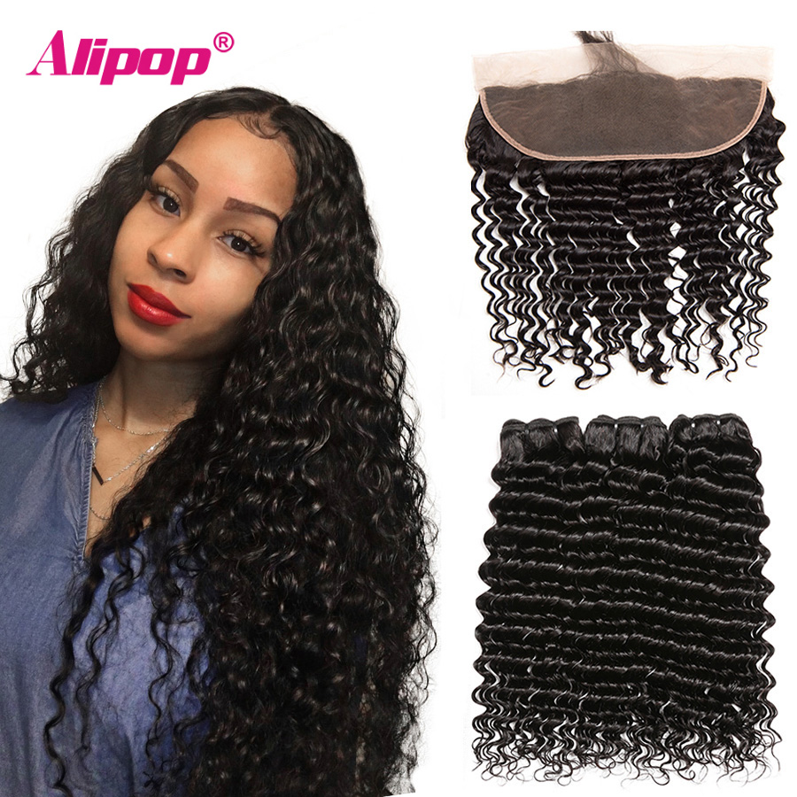 Alipop Deep Wave Bundles With Frontal 13x4 Lace Frontal With Brazilian Hair Weave Bundles Remy Human