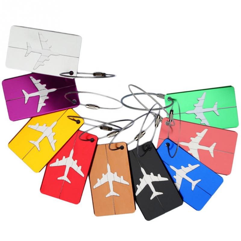 1Pcs New Aluminum Metal Travel Luggage Label Suitcase Name ID Address Tags Luggage Tags