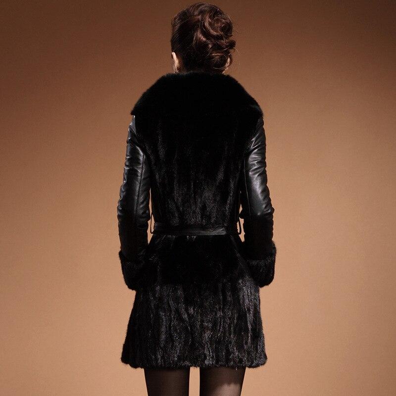 Dans Sa Cuir Dame De En Manteau Nouveau Noir Long 72 Fourrure Haining À Cultiver Moralité Vison wCqOBxPf