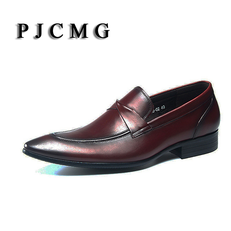PJCMG New Fashion Breathable Luxury Black/Red Genuine Leather Slip-On Pointed Toe Oxford Men Classic Formal Dress Wedding Shoes pjcmg new black red mens oxfords crocodile pattern slip on pointed toe genuine leather business formal men wedding shoes