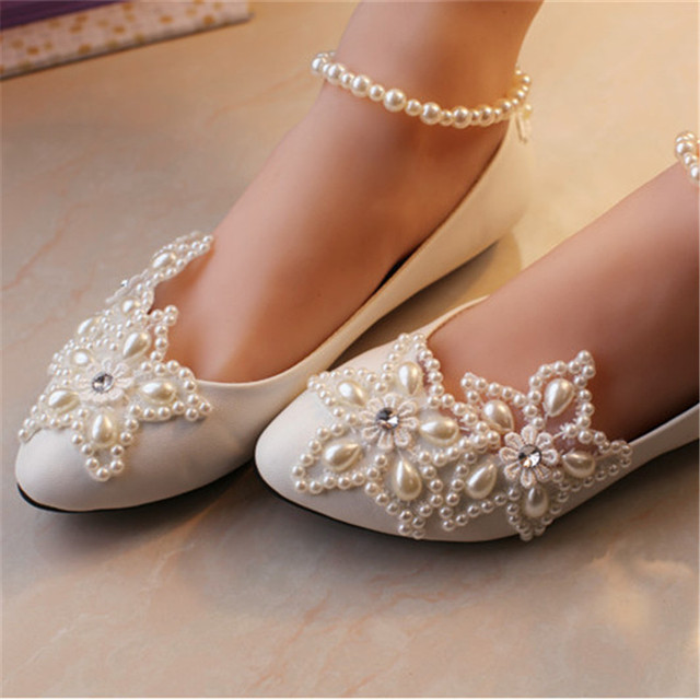 cbaba6290a5 Kids Dance Wedding Party Shoes Girls Princess ballet flats Children s lace  pearls bridal shoes