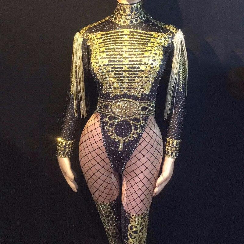 Jazz Dance Costumes For Lady Gauze Sexy Rhinestone Women Bar Dj Dancers Stage Singer Fringe Sequin Leading Dancewear DJ1023