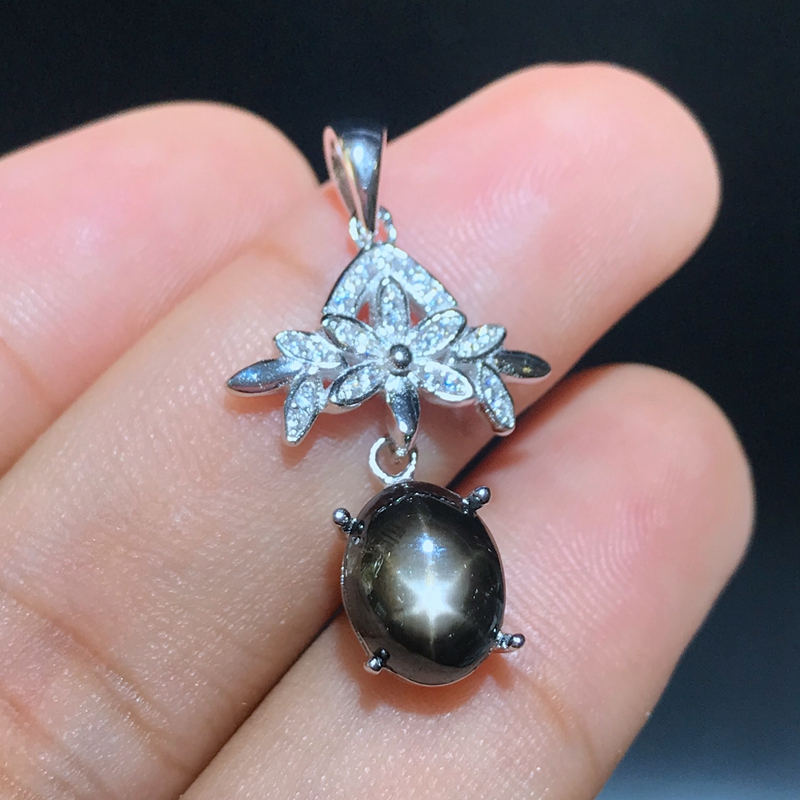 New store discount price super discount 925 Silver Natural Star Sapphire lady Necklace 80% discount