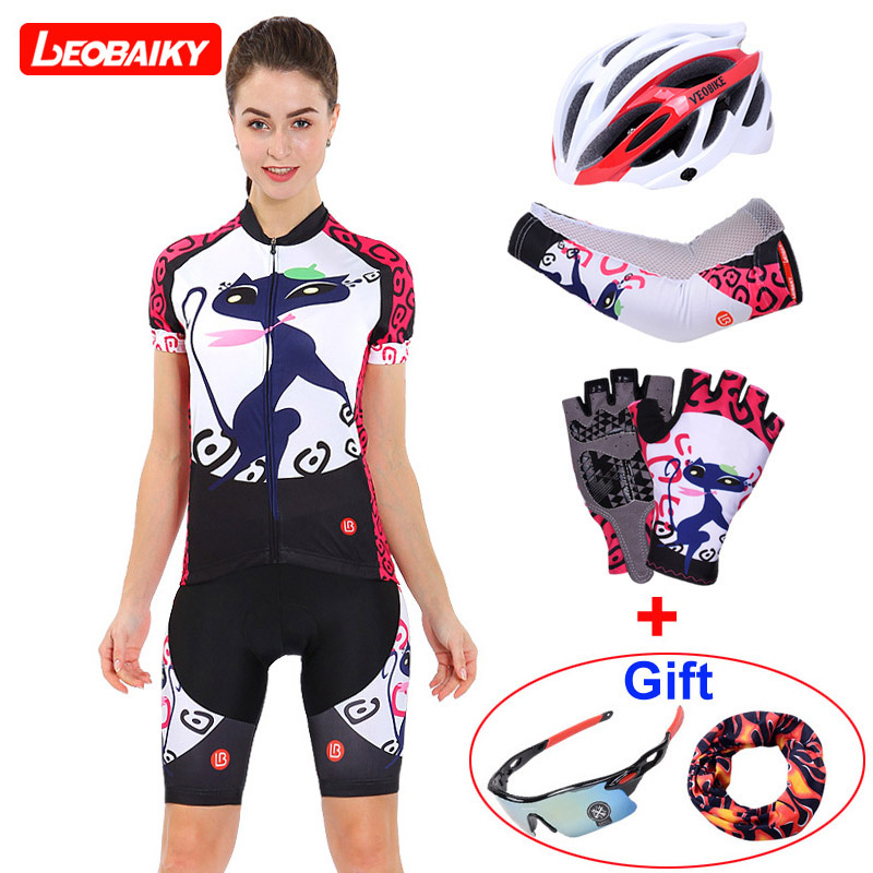 LEOBAIKY 2018 New Dry Fit Short Sleeve Women Bicycle Cycling Jersey Sexy Lady Female Clothing MTB Bike Road Sports Clothes Sets west biking bike chain wheel 39 53t bicycle crank 170 175mm fit speed 9 mtb road bike cycling bicycle crank