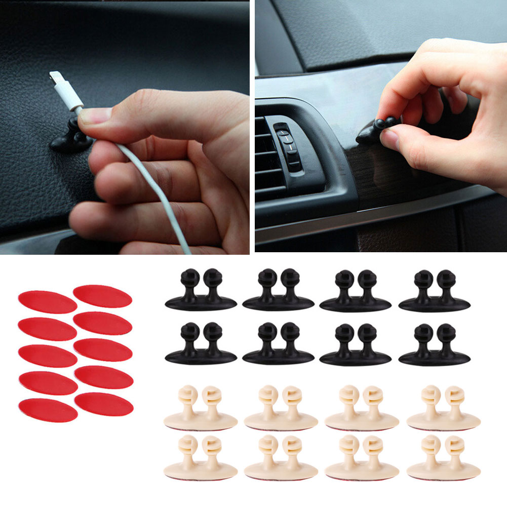 8Pcs/set Adhesive Cable Winder Car Interior Cable Clip Earphone Cable Organizer Wire Storage Holder Clip Cord Holder Promotion iskybob 5pcs key cord cable organizer winder earphone headphone wrap winder wire holder page 8