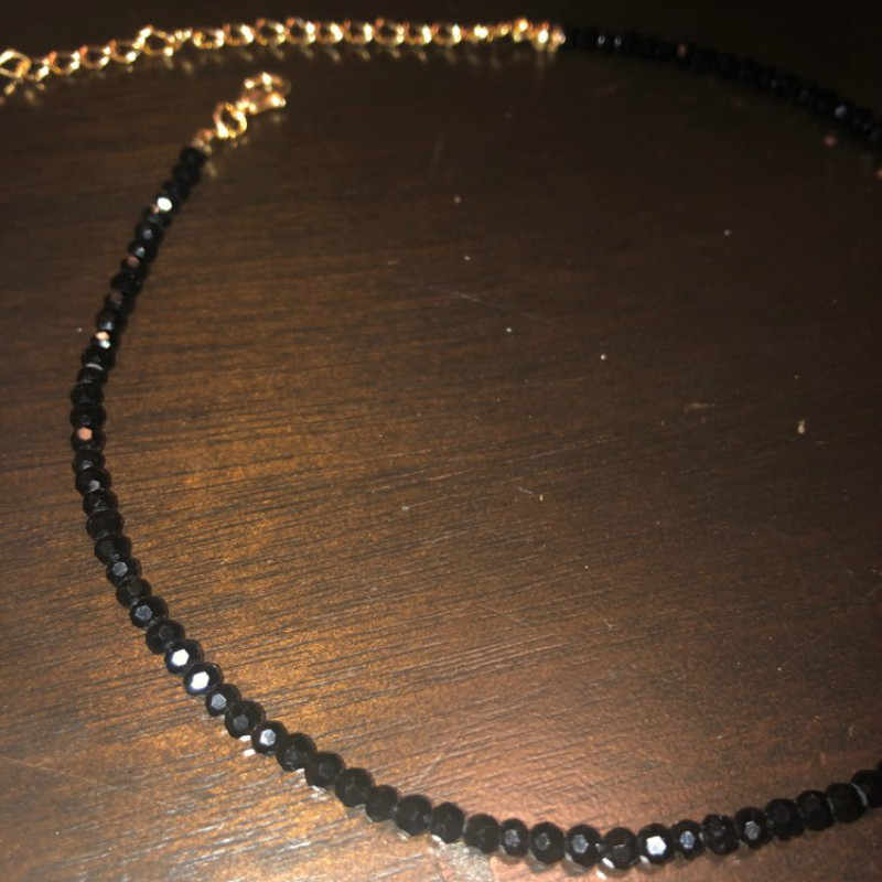 3mm Black Crystal Beaded Choker Necklace Female 2019 Fashion Jewelry Necklaces for Women Bijoux Femme Gold Silver Color