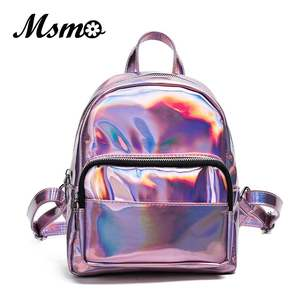 MSMO Hologram Backpack Laser Silver Multicolor Women Bag Small-Size