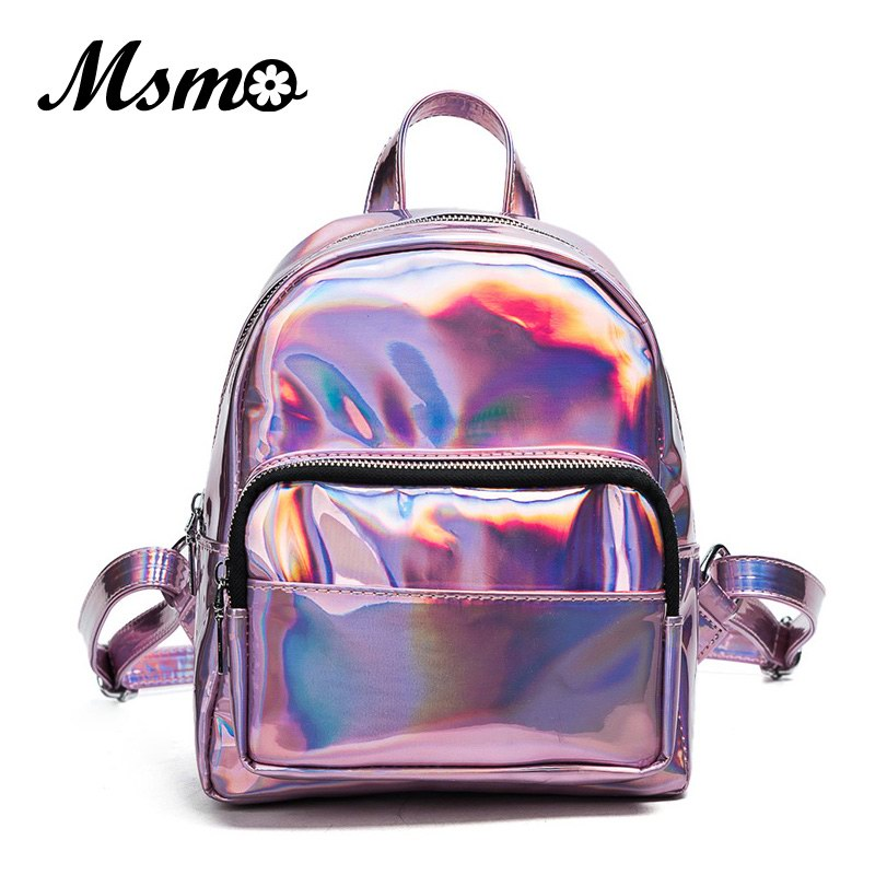 MSMO 2017 Women Silver Hologram Backpack Laser Back <font><b>Pack</b></font> Women Bag Leather Holographic Daypack Small Size Multicolor