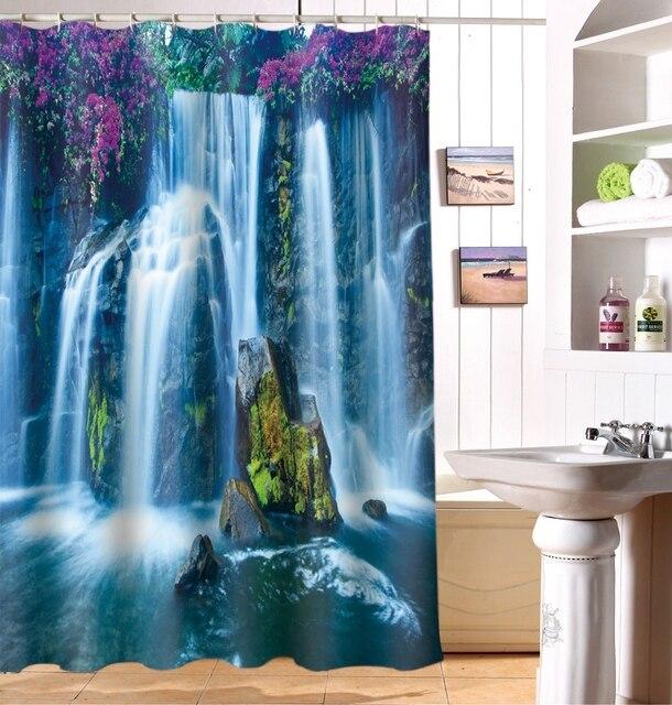 Jungle Waterfall 3D Photo Digital Printing Bath Waterproof Fabric Shower  Curtains