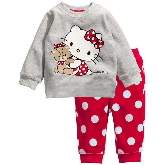 a43058fcb3 Baby Girls Clothes Children Clothing Sets New Brand Kids Tracksuits for  Girls Sets Kitty Cat Pattern