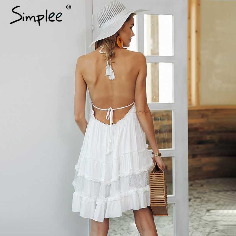 Simplee Летнее мини-платье с открытой спиной и ремешком, женское Сексуальное Кружевное белое платье с v-образным вырезом и кисточками для женщин 2018, уличная одежда, Пляжное Платье vestidos