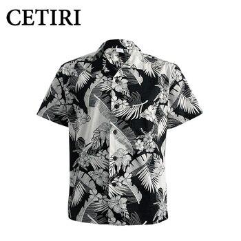 CETIRI Luxury Brand Shirt Men Summer Cotton Hawaiian Short Sleeve 2018 Fashion Plus Size Stand Collar Loose Beach Shirt Wear 1