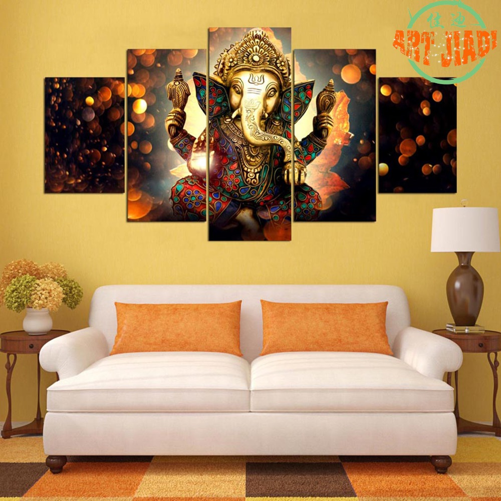 Lord ganesha multi color painting hd image - Aliexpress Com Buy New 5 Pieces Sets Canvas Art 5 Panel Elephant Lord Ganesha Hd Canvas Paintings Decorations For Home Wall Art Prints Canvas A947 From