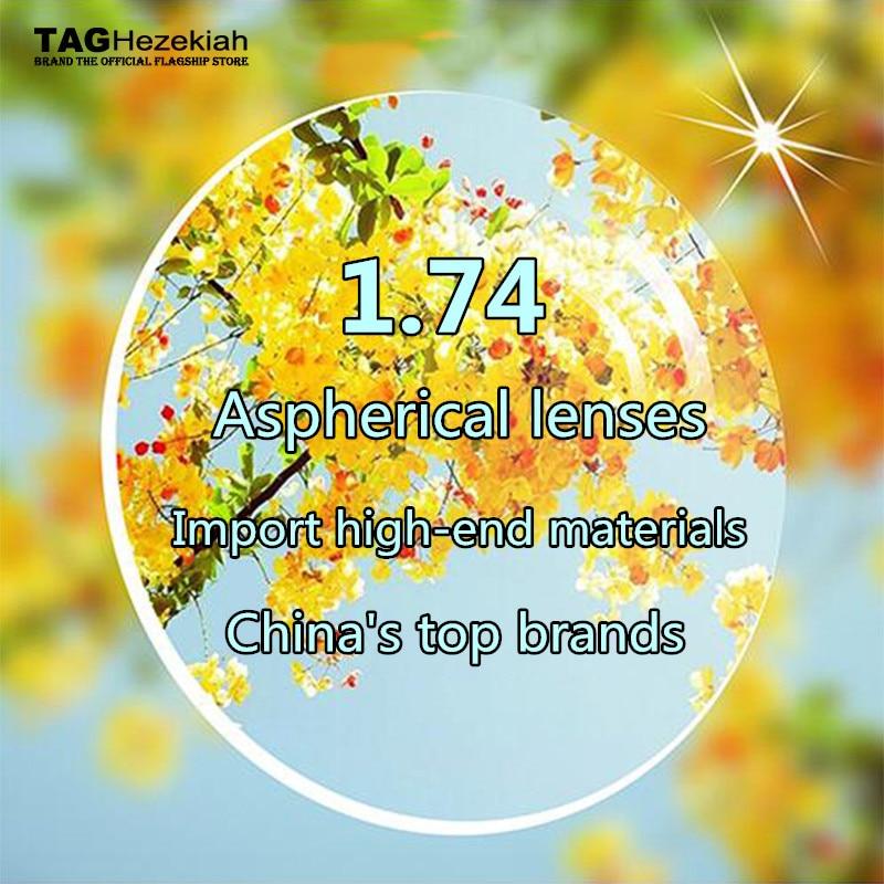 TAG Hezekiah 1.74 lentille de prescription de marque de haut niveau asphérique lentille en résine de myopie optique rayonnement ultra-clair ultra-léger