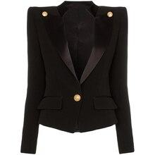Chaqueta de satén con un solo botón para mujer, chaqueta de diseñador, de alta calidad, novedad de 2020
