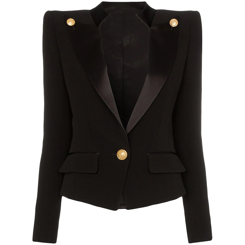 HIGH QUALITY Newest 2019 Designer Blazer Jacket Women's Single Button Satin Collar Blazer