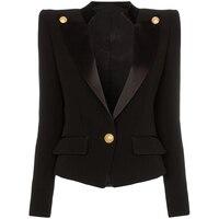 HIGH QUALITY Newest 2019 Designer Blazer Jacket Women's Single Button Satin Collar Blazer