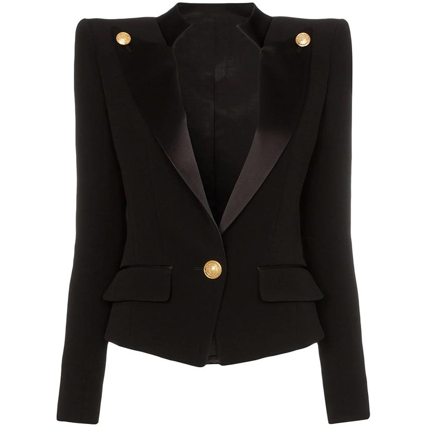 HIGH QUALITY Newest 2020 Designer Blazer Jacket Women's Single Button Satin Collar Blazer