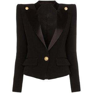 Image 1 - Veste de haute qualité avec col en Satin et bouton simple de styliste pour femmes, veste 2020
