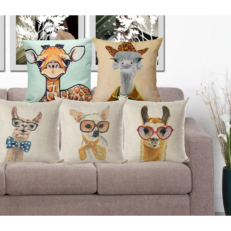 Cushion Cover Animal Pillow Case Cotton Linen Pillowcase Alpaca Ostrich Cushion Decorative Throw ...
