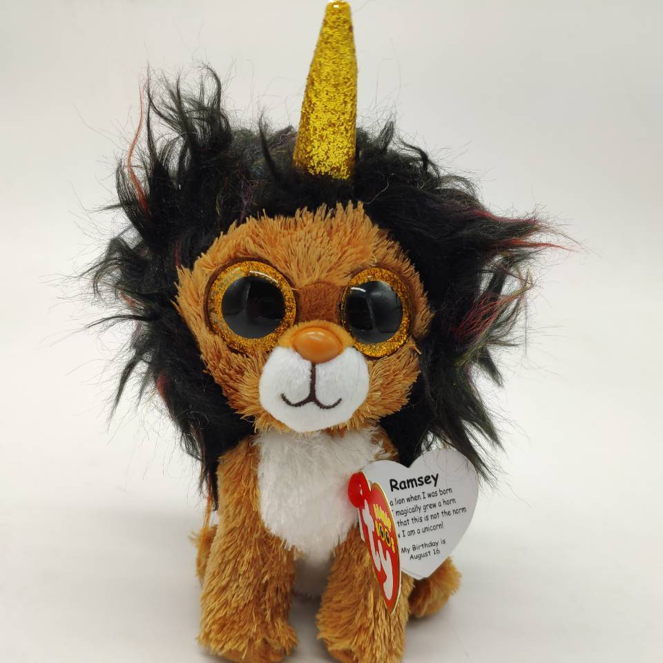 15cm ramsey lion with horn with tag and label TY BEANIE BOOS 15CM 6
