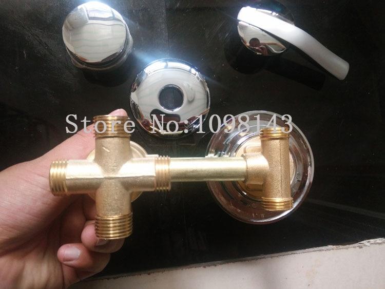 4 Way Shower Faucet Mixer Screw Tube, 3/4/5 way water outlet shower mixing valve, bathroom shower faucet mixer set chrome
