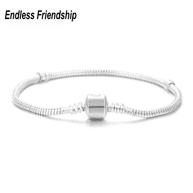 High Quality 3mm 17-21cm Silver Plated Snake Chain Bracelet Fit Pandora Bracelets Women DIY Making Jewelry Dropshipping JA0276