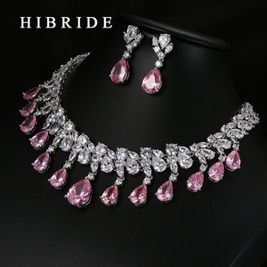 Image 2 - HIBRIDE Top Quality Tear Drop Shape AAA Cubic Zirconia Bridal Wedding Jewelry Sets,White Gold Color Jewelry Set N 59