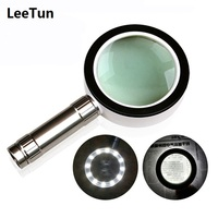 High Quality Illuminated Magnifier Loupe 10X LED Magnifying Glass Jewelry Glass 85 mm Handheld Magnifier for Reading Repairing