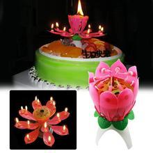 Романтический Красивый Музыкальный цветок лотоса на день рождения свечи огни детский подарок торт украшение цветок лотоса музыкальный