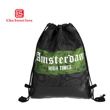 Fashion Women Leather Fashion Printing Drawstring Bag Packs Canvas Backpacks Casual Multicolor Feminine Drawstring Backpack