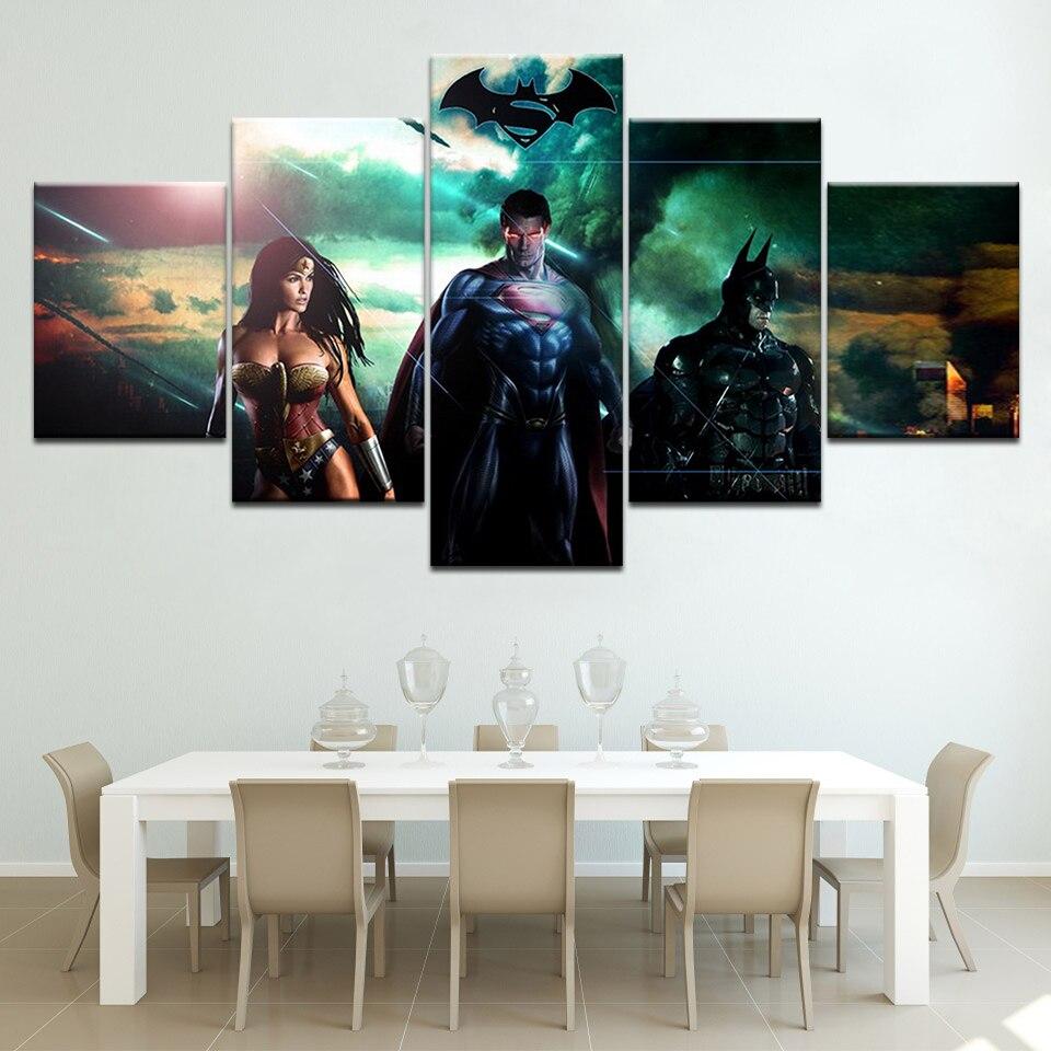 Superman Batman Wonder woman 5 Panels HD Print Wall Art modern Modular Poster art Canvas painting for Living Room Home Decor