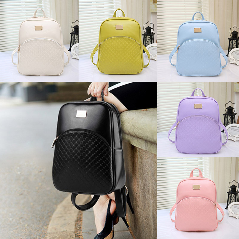2016 New Women s PU Leather Backpacks Fashion Daypack Girl School Bag Travel Casual Bags 88
