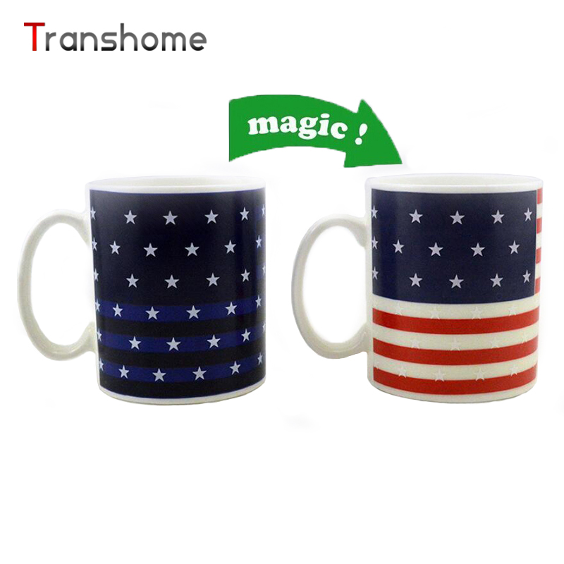 New American Flag Mug Magic Color Change White Porcelain Mugs Coffee Tea Milk Water Cup For