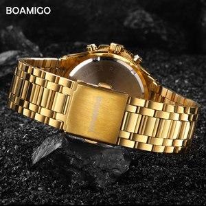 Image 3 - BOAMIGO markowe zegarki męskie moda sport kwarcowy zegarek dla człowieka luksusowy pasek stalowy na rękę męski zegar Relogio Masculino